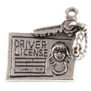 Driving Licence 3D Sterling Silver Charms